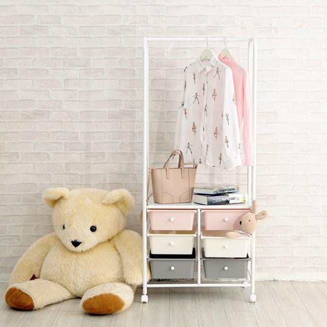 【H&R安室家】韓系質感雙排三抽組合式衣架-G206D嫩綠色