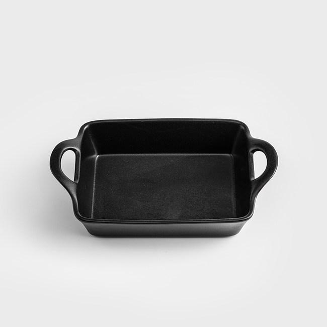 WAGA 日式 仿鐵曜黑27cm陶瓷長型雙耳烤鍋