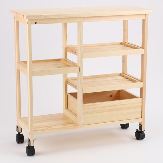 特力屋華伯六層松木活動架含收納盒75X32X77公分