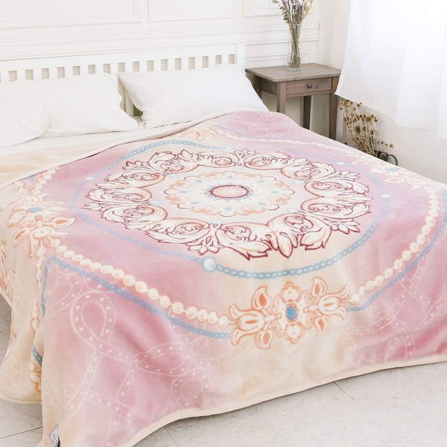 【米夢家居】鳴球100%澳洲美麗諾拉舍爾雙層加厚保暖純羊毛毯-粉嫩花語