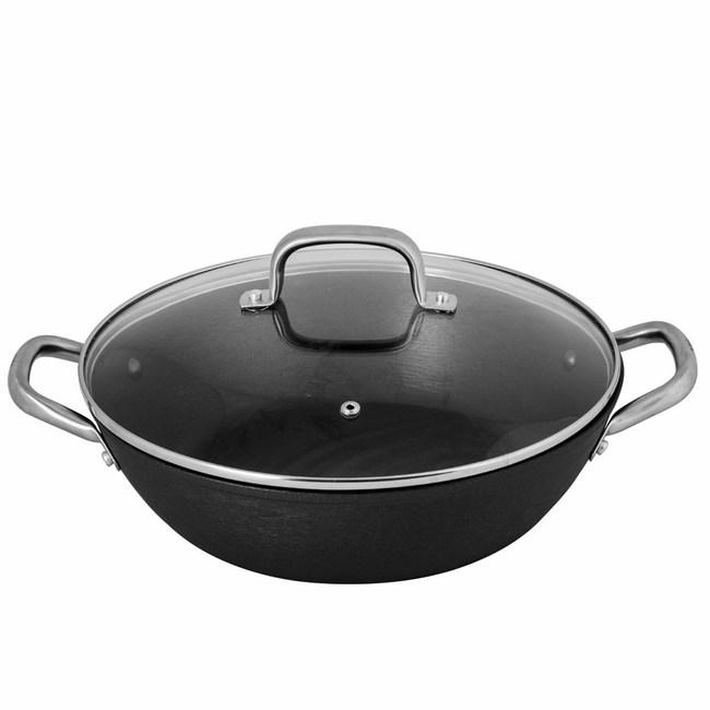 西班牙Pujadas輕量鑄鐵淺鍋30cm(附玻璃蓋)