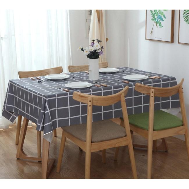 【三房兩廳】北歐風格防水防油桌巾/桌布-140X180cm(大格灰)