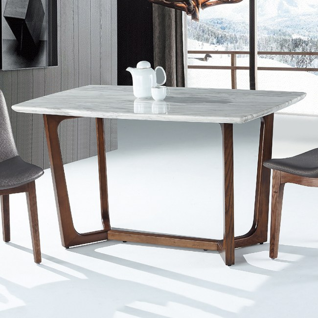 【YFS】奧斯頓淺胡桃4.6尺石面餐桌-140x80x78cm