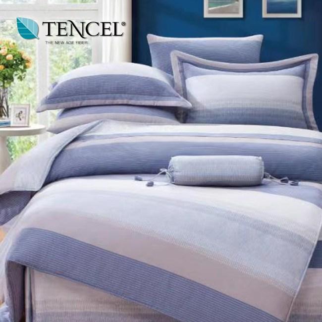 【貝兒居家寢飾生活館】100%萊賽爾天絲兩用被床包組(加大/簡約時尚)