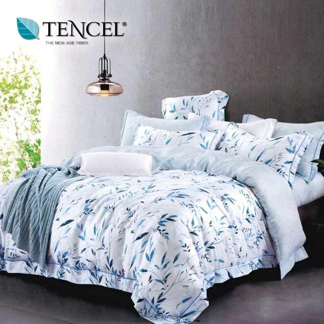 【貝兒居家寢飾生活館】頂級100%天絲床罩鋪棉兩用被七件組(加大雙人/輕舞悠然)