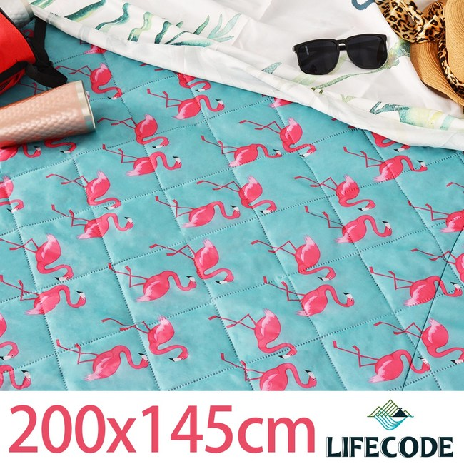 LIFECODE 火烈鳥涼感防水可水洗野餐墊200x148cm
