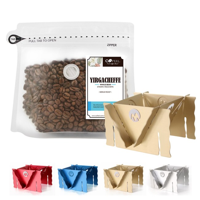 CoFeel 凱飛鮮烘豆衣索比亞耶加雪夫中烘焙咖啡豆半磅+咖啡架