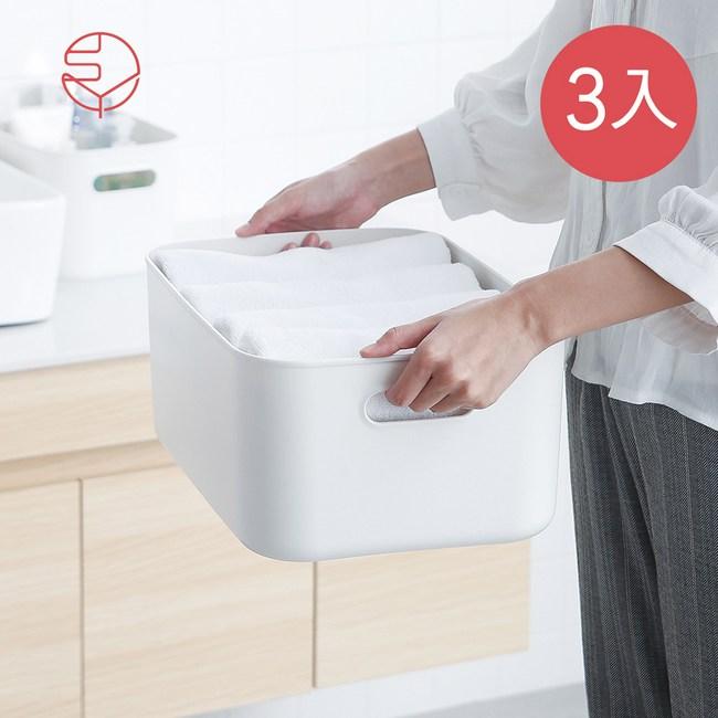 【日本霜山】北歐風霧面附蓋把手收納盒-灰白-M-3入單一規格