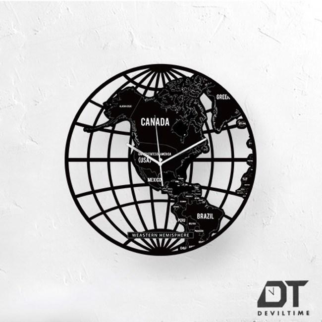 DT Time地圖木質系列時鐘-西半球