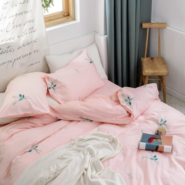 【eyah】台灣製200織精梳棉雙人床包枕套3件組-等待花香的日子