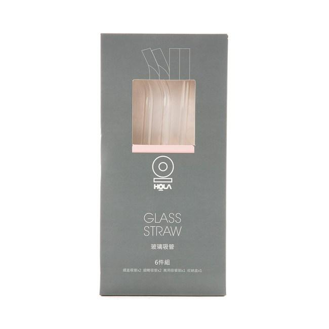 HOLA 玻璃吸管附收納盒6件組