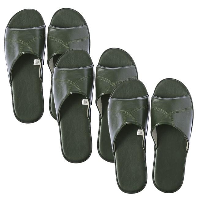 (組)現代皮拖鞋 綠Lx2+XLx1