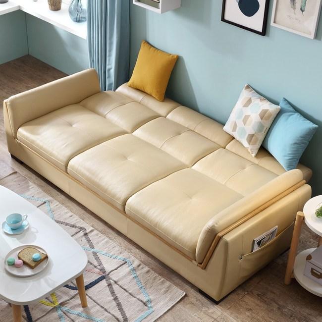 林氏木業精巧百變頭層牛皮三人真皮沙發床(附抱枕)RAE2K-米黃色