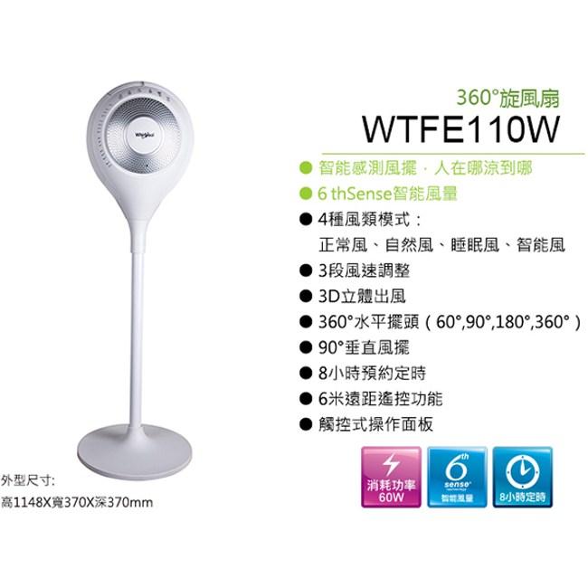 Whirlpool 惠而浦 WTFE110W 360度旋風扇