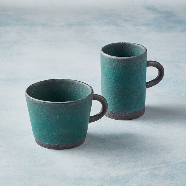 【有種創意】日本美濃燒 - 圓柄馬克杯 - 對杯組(4選2)寬口-青綠+寬口-青綠