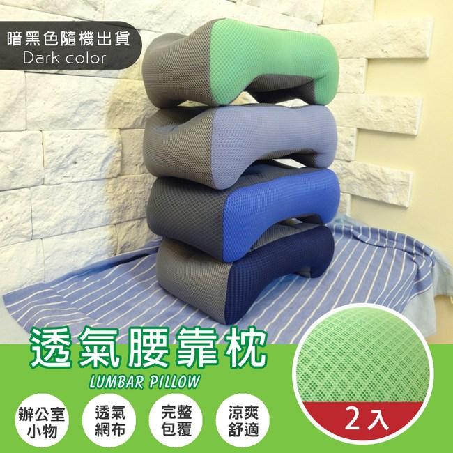 【Abt】新世代暗黑雙色超厚實服貼靠腰枕/腰靠墊/靠枕(隨機出貨)2入