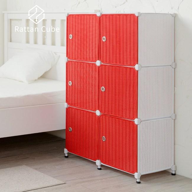 【藤立方】組合3層6格收納置物櫃(6門板+調整腳墊)-白色/紅色-DIY