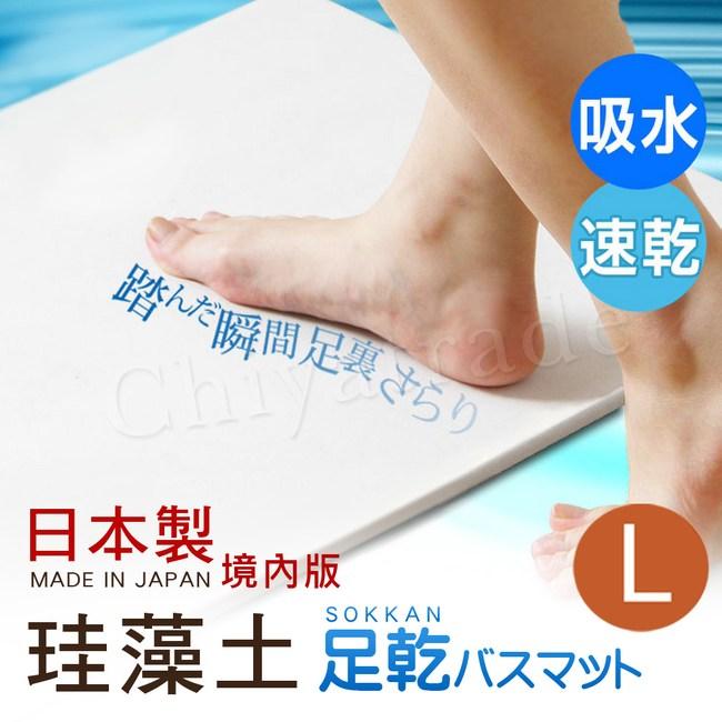 【日本藤原境內版】日本製 珪藻土 足乾樂 超吸水 抗菌速乾地墊-L (日本建材級)