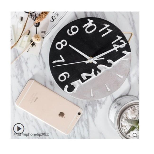 現代簡約水泥數字掛鐘-黑色