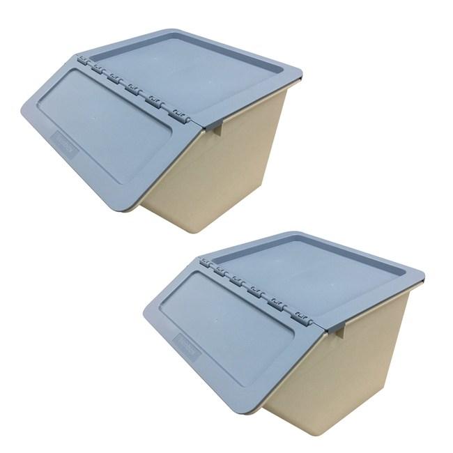 (組)經典掀蓋收納箱-中藍2入組