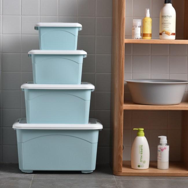 【IDEA】4件組合-多規格手提掀蓋收納整理箱/收納箱藍綠