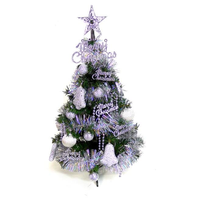 【摩達客】台灣製可愛2尺(60cm)經典裝飾綠色聖誕樹(銀色系裝飾)本島免運費
