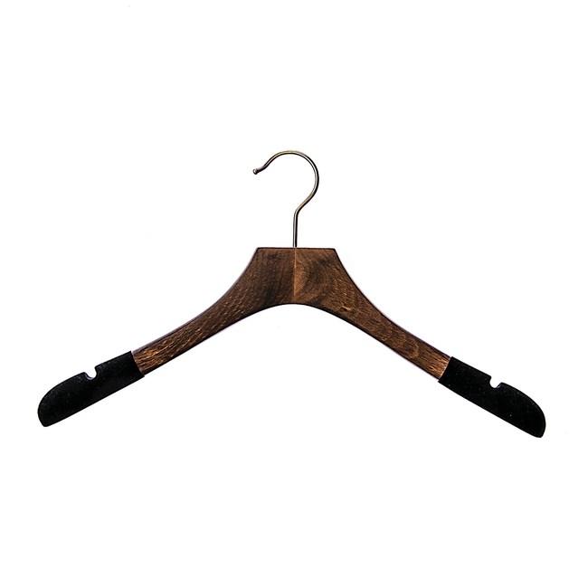 HOLA 豪華木製黑絨布止滑寬肩衣架42cm