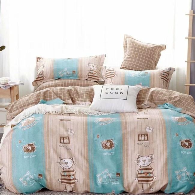 【eyah】100%寬幅精梳純棉單人床包雙人被套三件組-藍寶貴族貓