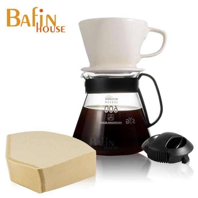 【Bafin House】4人份 陶瓷濾杯玻璃壺組(附贈 三洋濾紙 100張)