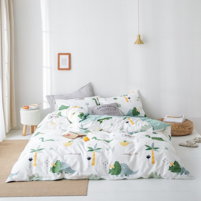 【eyah】台灣製200織精梳棉雙人床包被套四件組-史前樂園