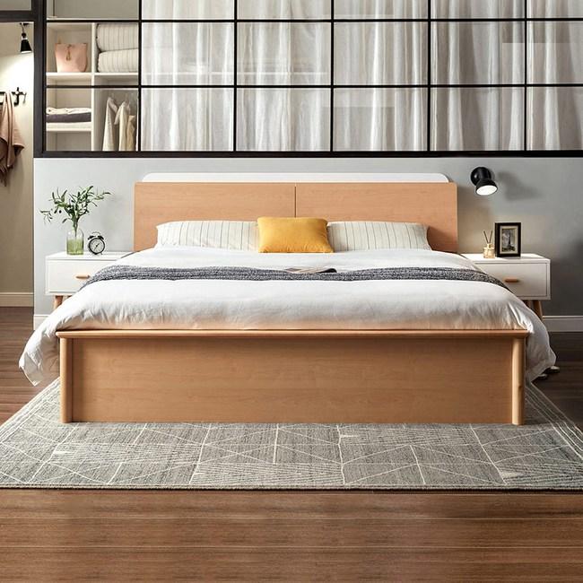 林氏木業北歐櫸木現代簡約多功能儲物雙人5尺掀床組 DK3A V2