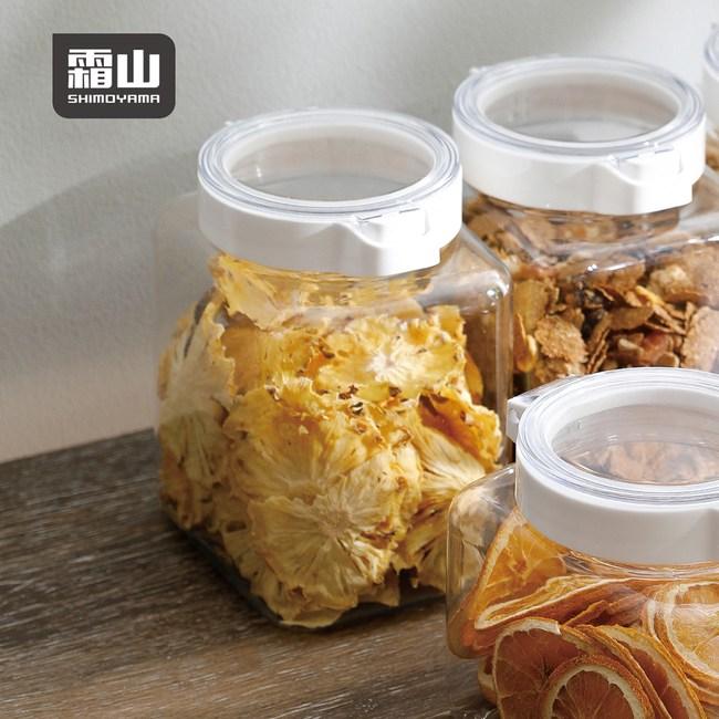 【日本霜山】PET廚房按壓快掀式食材透明密封罐-1500ml-3入單一規格