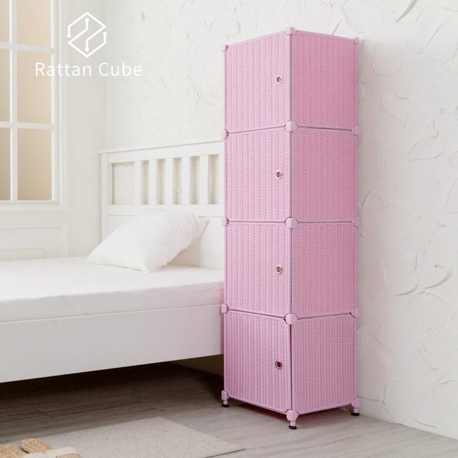 【藤立方】組合4格收納置物櫃(4門板+調整腳墊)-粉紅色-DIY