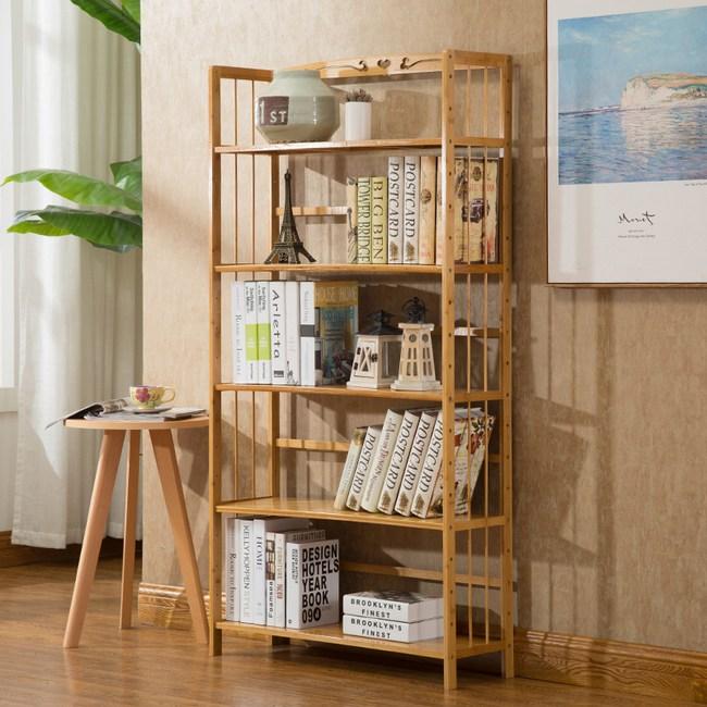 竹藝竹製簡約落地書架 五層