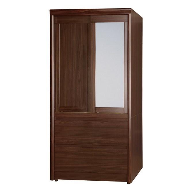 【YFS】亞摩斯3尺胡桃下二抽衣櫥-83.5x59x176.5cm