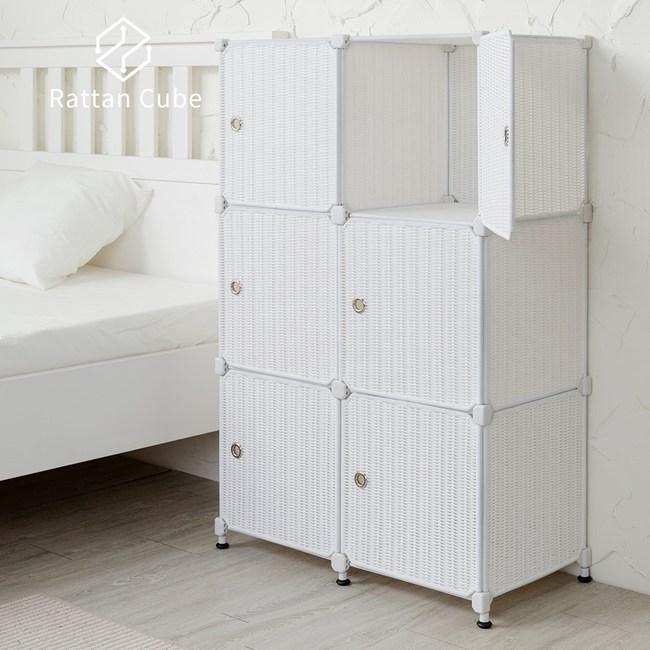 【藤立方】組合3層6格收納置物櫃(6門板+調整腳墊)-白色-DIY