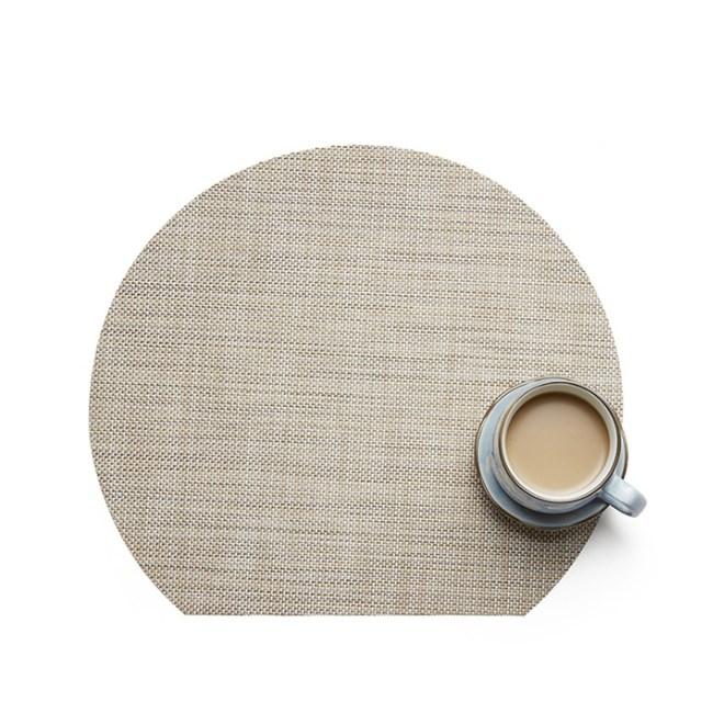 北歐風格 半月隔熱防滑PVC亞麻系餐墊-亞麻(多款可選)