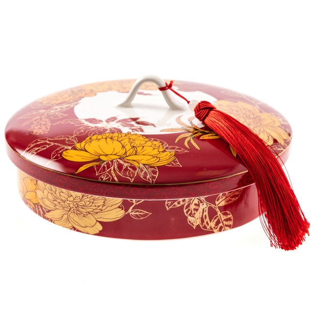 團花簇錦陶瓷糖果盒 25cm