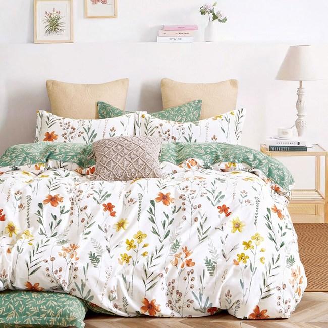 《DUYAN 竹漾》100%精梳純棉-單人三件式兩用被床包組-初晨花語