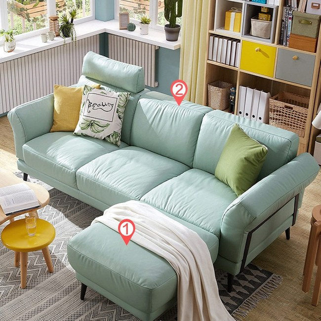 林氏木業北歐頭層牛皮三人皮沙發+腳凳(附抱枕)RAM1K-薄荷藍