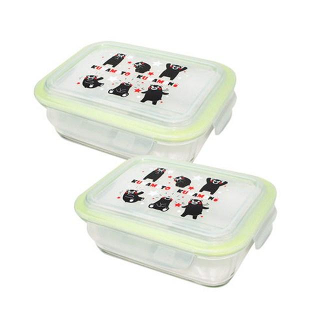 KUMAMON 熊本熊長方形玻璃保鮮盒二入