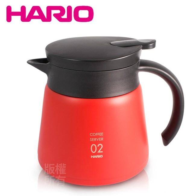 【HARIO】不鏽鋼真空咖啡保溫壺-紅 (VHS-60R)