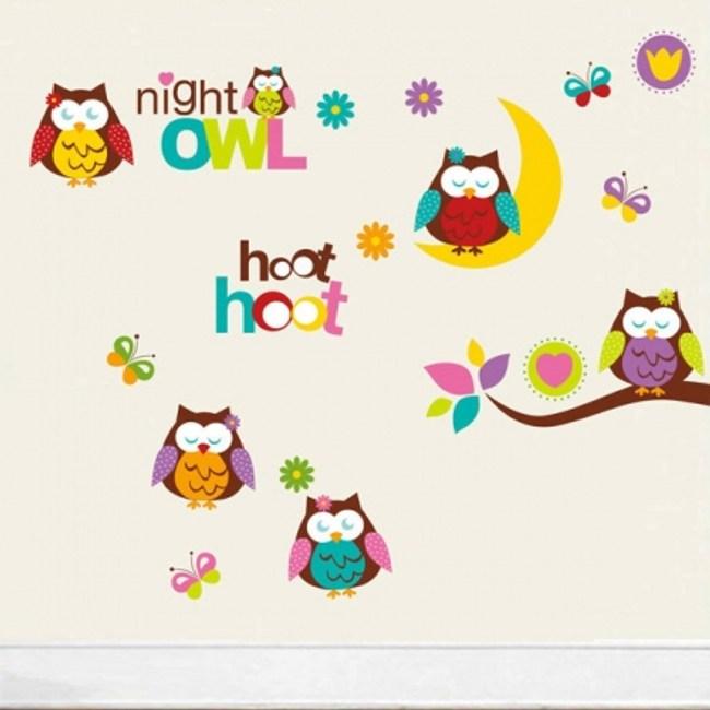 創意無痕壁貼 晚安可愛貓頭鷹