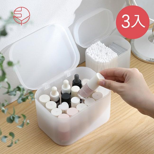 【日本霜山】無分隔霧透PP多用途收納盒(附蓋)-3入單一規格