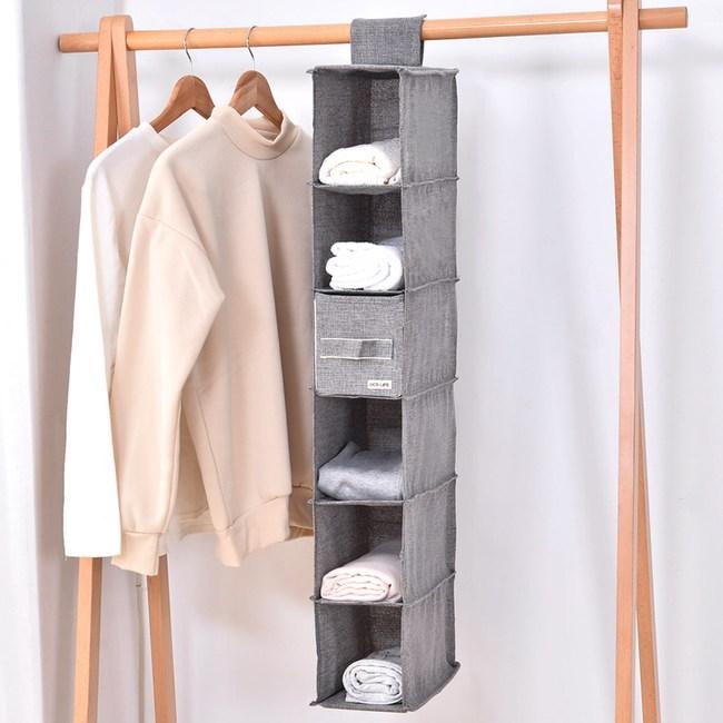日式布質懸掛式衣物收納袋-(灰)小