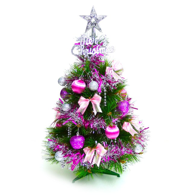 【摩達客】台灣製2尺特級綠色松針葉聖誕樹(銀紫色系飾品組+50燈彩色鎢絲樹燈串)本島免運