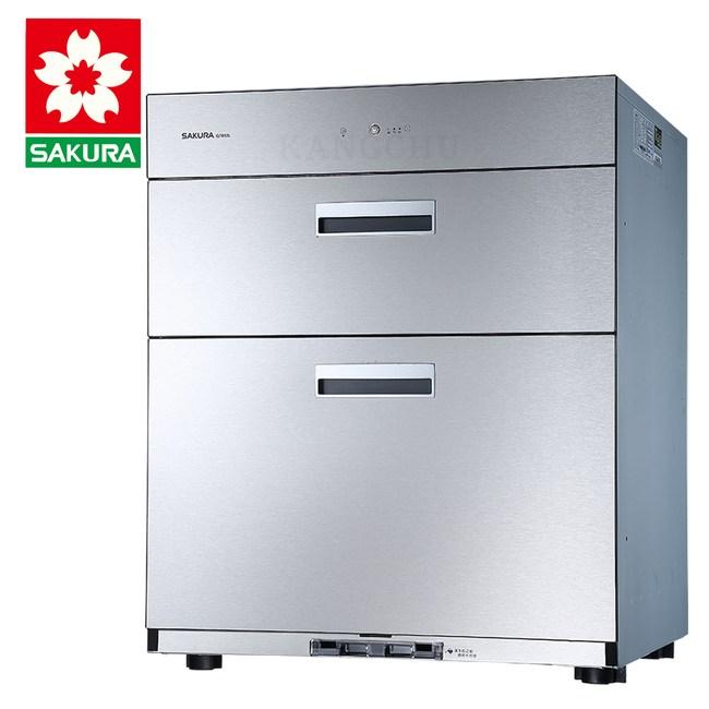 櫻花牌Q7692全平面不鏽鋼雙層抽取臭氧型60cm下崁式烘碗機高度68cm