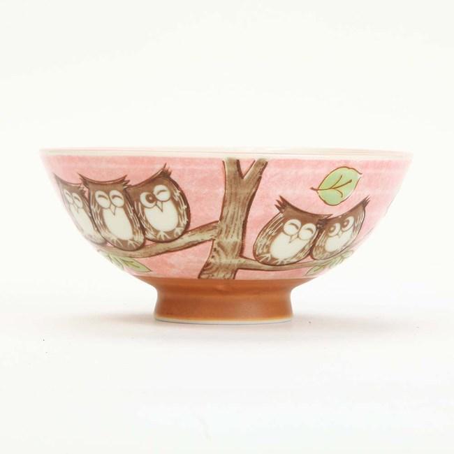 日本美濃燒碗 L 森林貓頭鷹 日本製陶瓷餐具  輕量用餐拿取好使用 表面採用釉彩美觀實用