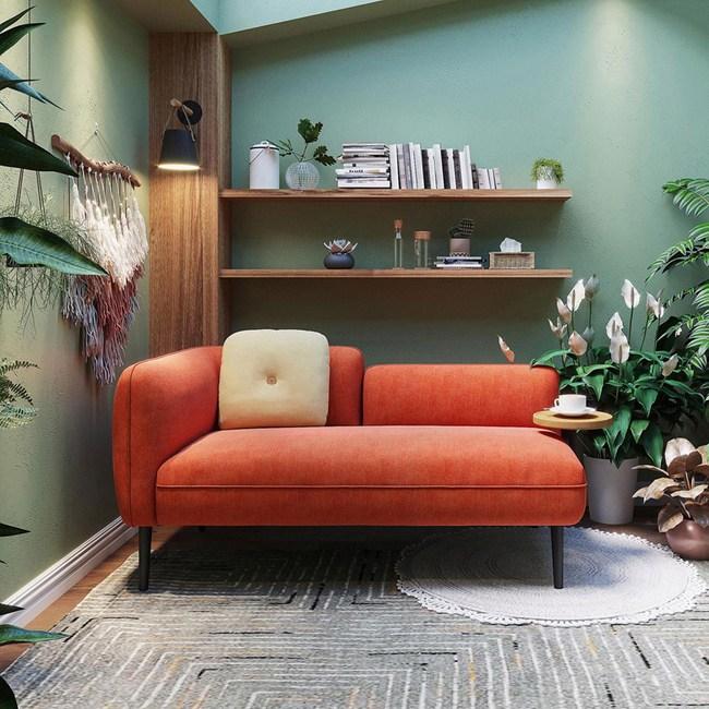 林氏木業北歐小戶型左扶手茶几雙人布沙發 S026-橘紅色