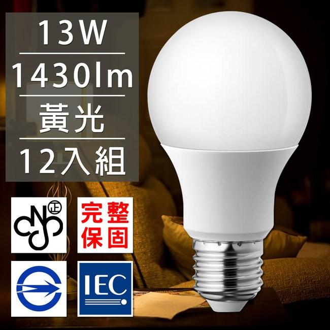 歐洲百年品牌台灣CNS認證LED廣角燈泡13W/1430流明黃光12入